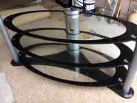Glass 3 Tier TV Table