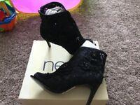 Next Black flower lace shoe boots