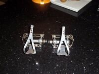 Early Campagnolo Pedals with Galli titanium toe clips very rare .