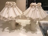 Pair of Cream china bedside lamps - Lace trimmed shades