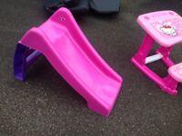 Childrens slide in pink
