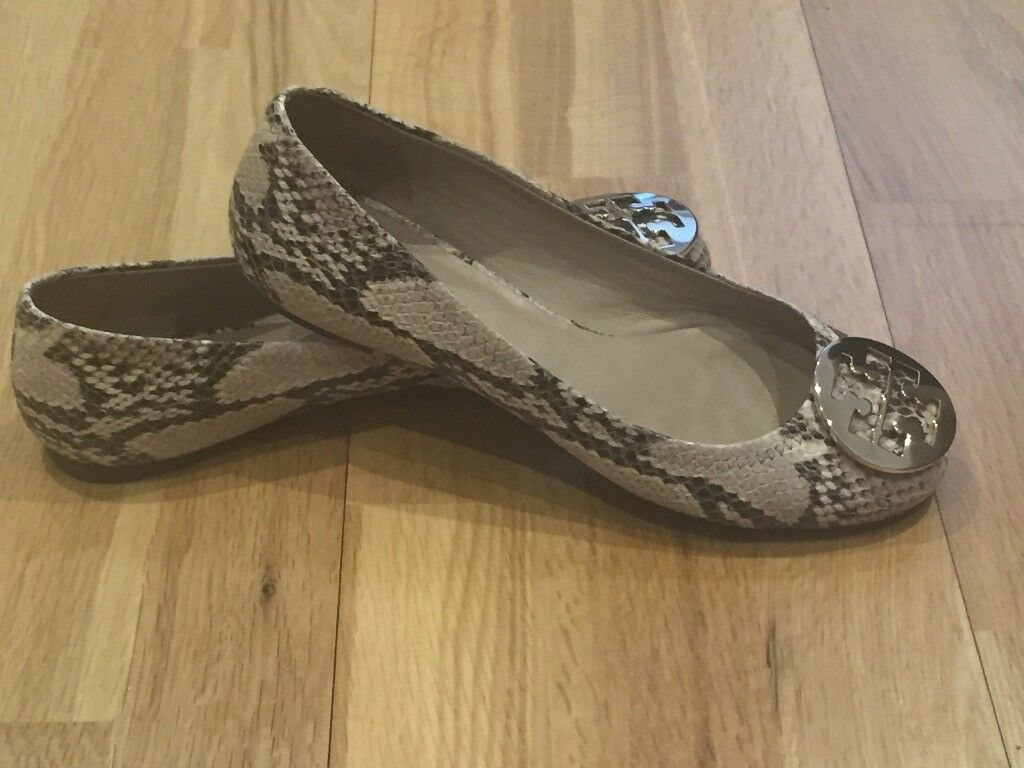 453c65dcd6cfb Tory Burch - Neutral Snake Print Leather Reva Ballet Flats with Gold Logo