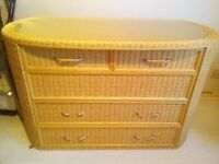 Wicker Chest Of Drawers / Unit / Sideboard solid rare