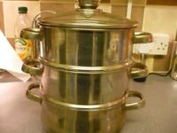 3 TIER STAINLESS STEEL STEAMER
