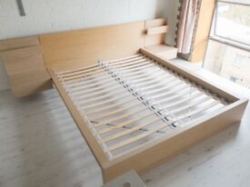 Ikea Malm Birch superking bed frame plus side tables
