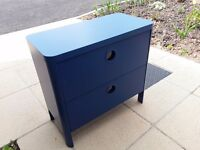Blue 2 drawer chest of drawers