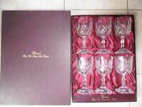 6 Hand Cut Italian Made Blenheim Lead Crystal Goblet Glasses Boxed Unused