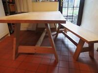 HABITAT ETHAN Large Farmhouse style dining table and matching bench -seats 6-10