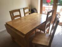 Large Pine Dining Table with 4 matching Chairs
