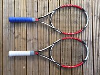 BARGAIN!   2x PRO WILSON TENNIS RACKETS   70% DISCOUNT   USED BUT GOOD QUALITY