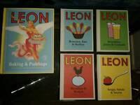 5x new Leon award-winning cookbooks/ bakery books. RRP £47.96