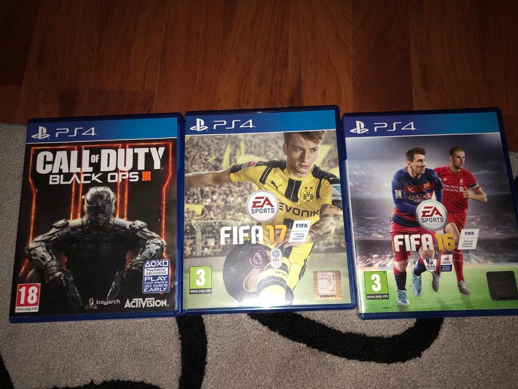 Black ops 3, fifa 17, fifa 16 on ps4