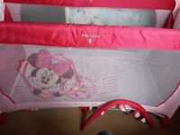 Girls minnie mouse travel cot