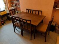 Ercol extending dinning table, 6 chairs and sideboard