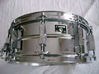 """Sonor D556 seamless Ferro manganese Steel snare drum 14 x 5 1/2"""" - West Germany - Circa 1975"""