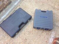 sealey oil extractor pump, 2x empty tool cases, strobe light