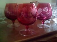4 red Brandy Glasses OLD