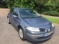 MEGANE 1.5 DCI 06 REG 5DR IN GREY WITH ONLY 62800 MILES SERVICE HISTORY AND MOT JUNE 2018