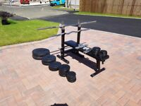 Gorilla Sports Weight Bench with Plates: Complete Weight Set + Extras