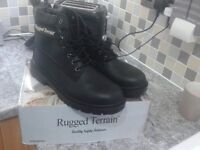 Brand new rugged terrain black safety boots