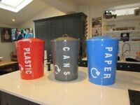 Recycling Recycle Bins - Set of 3 paper plastic cans etc NEW