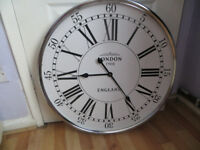 Large retro style wall clock Hills of London,spectacular