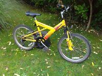 Boys 10 Speed Mountain Bike with Front Suspension, Good Brakes & Tyres.