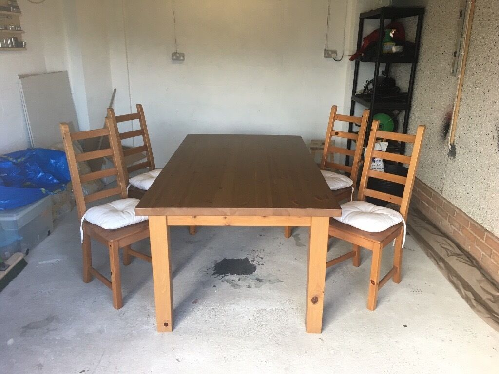Ikea solid wood forsby dining table 4x kaustby chairs pillows in bridge of don aberdeen - Ikea wooden dining table chairs ...