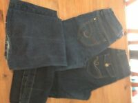 Ladies Jeans x 2 pairs flared both size 12 USED