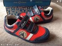 BNIB clarks boys shoes jets black/red/white