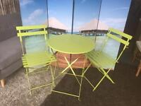 Brand New and Boxed Padstow Apple Green Folding Steel Garden Bistro Set