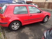 RED 3 DR V.W GOLF MK4, 1.4 , 16V ENGINE , YEARS M.O.T , ++FIRST TO SEE WILL BUY++