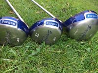 Set of ladies Sapphire Forgan golf woods (1,3,5) plus covers - great condition