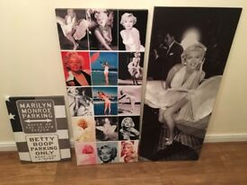 Three Marilyn Monroe Canvases