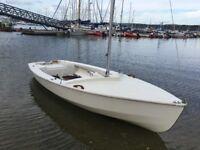 Wayfarer sailing dinghy, road trailer and launch trolley