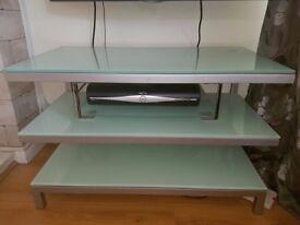 Floating glass tv unit