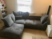 Left hand grey corner sofa, 7 months old, comes in 2 parts. Collection only. L212cm H78cm D164cm