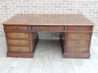 Wooden Partners Desk - Vintage Huge Size 3 parts + Keys (UK Delivery)