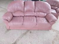 Sofa, recliner Chair and Footstool Salmon Pink