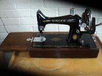 Vintage singer sewing machine in box