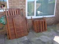 Luxury set of garden furniture as new, wooden sette and two chairs.