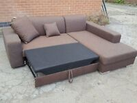 Lovely BRAND NEW Brown fabric corner sofa bed with storage. delivery available