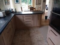 Fitted Kitchen Units, Light Oak, contemporary, soft close, worktops, oven, available late September