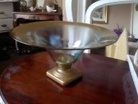 LARGE WIDE GLASS BOWL ORNAMENT WITH GOLD TRIM AND ON THE BASE