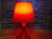 Vintage red plastic table lamp