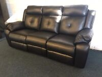 Littlewoods Denzel Black Leather 3 piece suite Recliner Three Two Seater Sofa and Armchair 6 Seat
