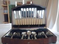 Superb 49-piece silver plated canteen from Maple & Co London late 1930s. Mahogany case with key