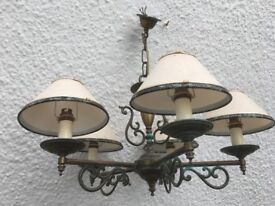 Old Brass Chandelier & Three wall lights