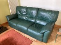 Ikea green leather sofa and 2 chairs