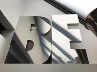 Large B and E letters.